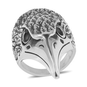 Black Oxidized Stainless/S Eagle Head Men's Ring